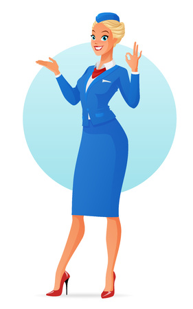 Beautiful smiling flight attendant in uniform presenting and showing ok sign gesture. Cartoon vector illustration isolated on white background. Illustration