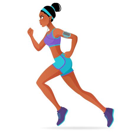 Joven deportiva atleta negro maratón mujer que se ejecuta con los auriculares. ilustración vectorial de dibujos animados aislado en el fondo blanco.