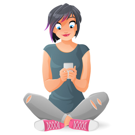 Cute smiling teen girl communicating or texting with her smartphone. Cartoon vector illustration isolated on white background. Çizim