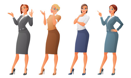 Set of cartoon business formal dressed women showing ok sign gesture, talking on phone, looking up and thinking, finger pointing up. Vector illustration isolated on white background. Illustration