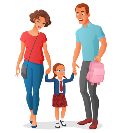 father and child: Young little girl in school uniform is going to school at the first time with her parents holding hands. Cartoon vector illustration isolated on white background. Illustration