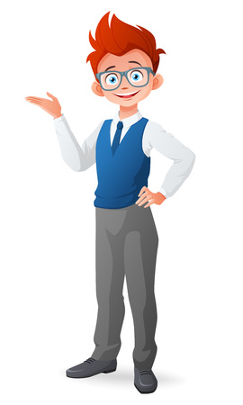 smart boy: Cute smart little boy with glasses and finger point up having an idea. Cartoon vector illustration isolated on white background.