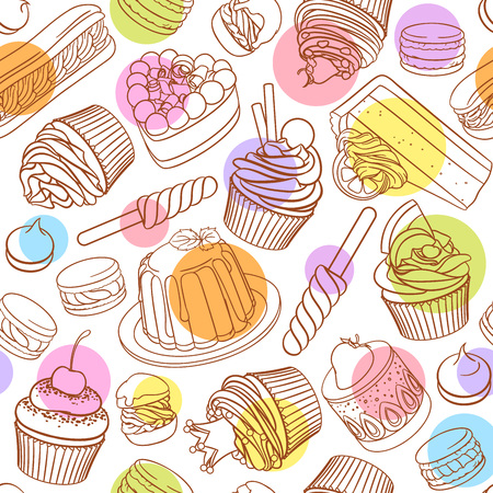Assorted pastel outlined colorful desserts, pastries, sweets, candies, cupcakes. Seamless vector pattern with polka dots on white background. Illustration