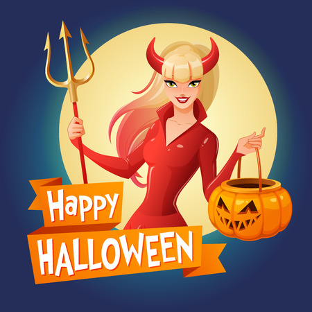 Halloween card. Sexy blond lady in glossy red Halloween costume of a devil with horns and trident holding jack-o -lantern pumpkin basket. Cartoon style vector illustration on dark background. Illustration