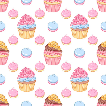 sissy: Cute pink and chocolate cream cupcakes and meringues vector seamless pattern on white background.