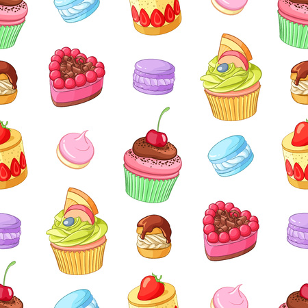 cupcakes isolated: Assorted bright colorful desserts, cupcakes and macaroons. Seamless vector pattern isolated on white background. Illustration