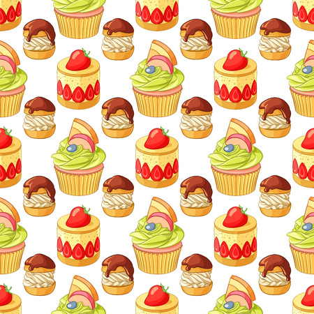 tart: Bright colorful desserts and pastry seamless vector pattern on white background. Strawberry tart, fruit cupcake and profiteroles.