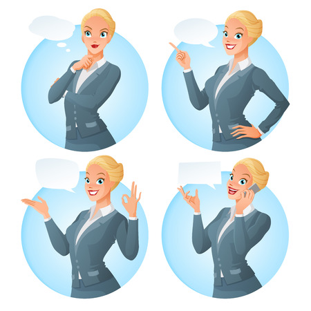 finger pointing up: Vector set of cartoon business formal dressed woman in different poses with various speech bubbles looking up and thinking, finger pointing up, showing ok sign gesture, talking on phone, Illustration