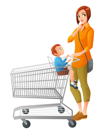 Thoughtful young mother with little boy sitting in shopping cart. Cartoon vector illustration isolated on white background. Illustration