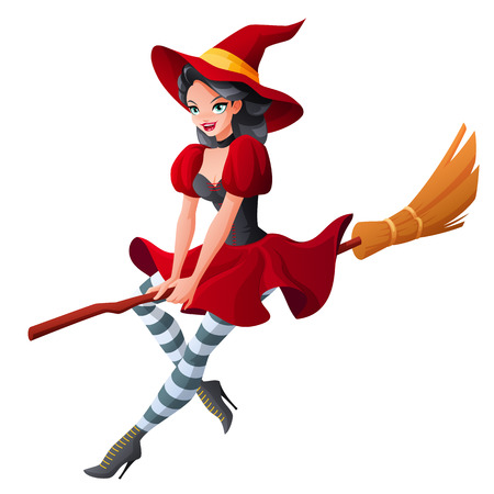 Sexy brunette woman in dark red Halloween costume of witch flying on broom. Cartoon style vector illustration isolated on white background.