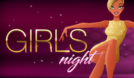girls night: Girls night banner. Beautiful glamorous young woman sitting in night club lounge. Cartoon style vector illustration on dark background.