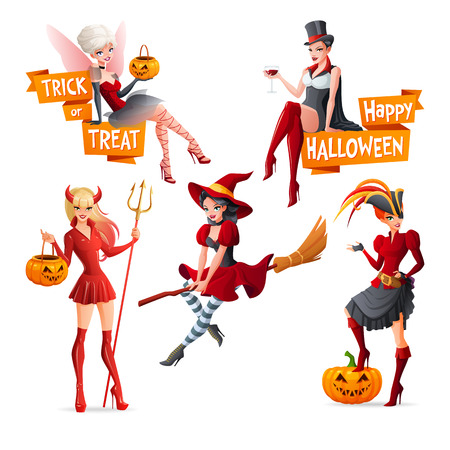 sexy devil: Beautiful women in Halloween costumes fairy with pumpkin, vampire, witch on broom, pirate and devil. Set of cartoon vector illustrations with text isolated on white background. Illustration