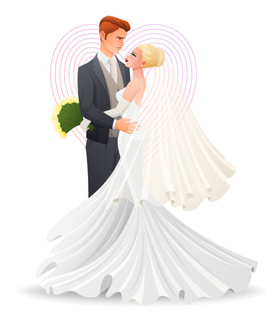 matrimony: Happy beautiful wedding hugging couple in love watching on each other. Traditional wedding cartoon vector illustration isolated on white background. Illustration
