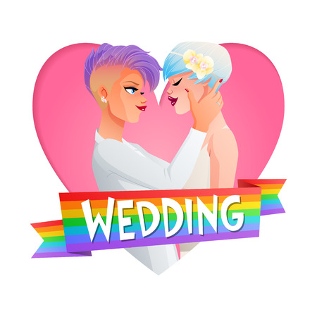 homosexual wedding: Cute beautiful gay lesbian homosexual hugging couple in love. Nontraditional wedding cartoon vector illustration in heart frame with text and rainbow flag. Illustration