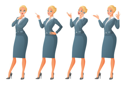finger pointing up: Vector set of cartoon business formal dressed blond woman in different poses isolated on white background showing OK sign gesture, talking on phone, looking up and thinking, finger pointing up. Illustration