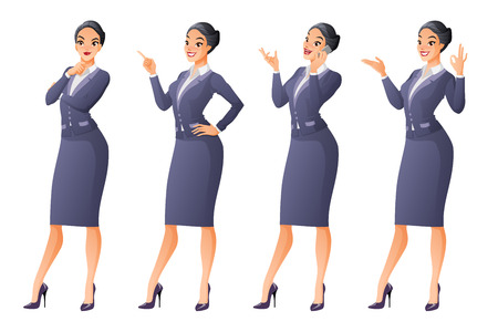 different thinking: Vector set of cartoon business formal dressed Asian woman in different poses isolated on white background showing OK sign gesture, talking on phone, looking up and thinking, finger pointing up.