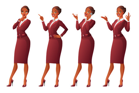 woman pointing up: Vector set of cartoon business formal dressed African woman in different poses isolated on white background showing OK sign gesture, talking on phone, looking up and thinking, finger pointing up.