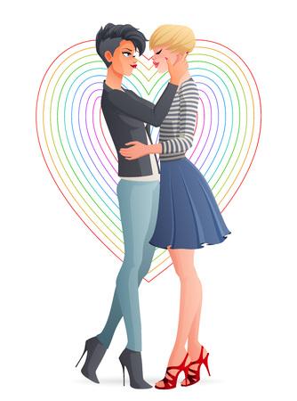 陽気な美しいゲイ レズビアン同性愛者の愛のカップルを抱き締めます。漫画ベクトル イラスト白背景に分離されました。