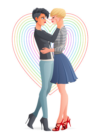 Cheerful beautiful gay lesbian homosexual hugging couple in love. Cartoon vector illustration isolated on white background.