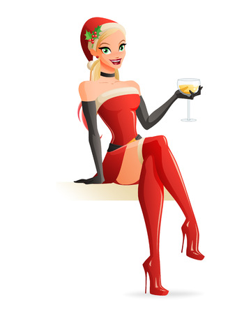 toasting: Cute sexy blond girl in red Christmas Santa costume sitting and toasting with glass of champagne. Pinup style vector illustration isolated on white background. Illustration