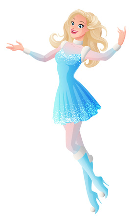 Pretty young woman in blue winter fairy snow maiden costume flying and presenting. Cartoon style vector illustration isolated on white background.