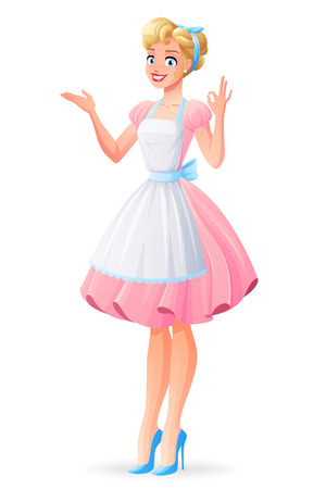 Beautiful housewife in pink dress and apron smiling and showing ok sign gesture. Cartoon style vector illustration isolated on white background.