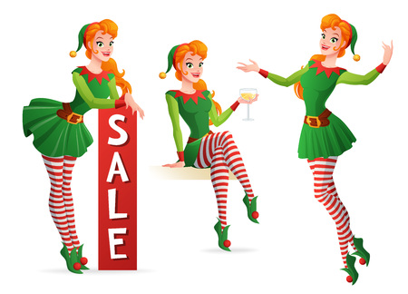 Set of beautiful redhead girl in green Christmas elf costume in different poses. Cartoon style vector illustration isolated on white background.