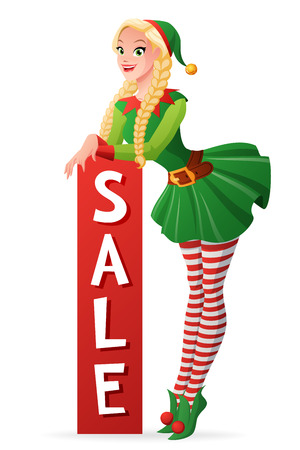 Pretty blond girl in green Christmas elf costume standing with vertical sale banner. Cartoon style vector illustration isolated on white background. Illusztráció