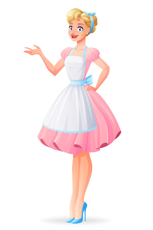 Beautiful housewife in pink dress and apron presenting. Cartoon style vector illustration isolated on white background.