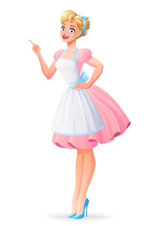 Beautiful housewife in pink dress and apron smiling and finger pointing. Cartoon style vector illustration isolated on white background. Illustration