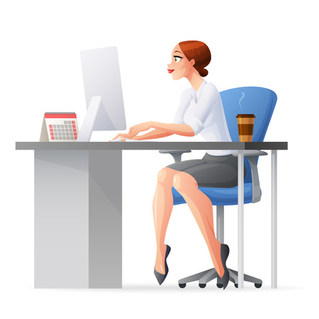 Pretty business woman working in office behind her desk with desktop computer and coffee in paper cup. Cartoon style vector illustration isolated on white background.