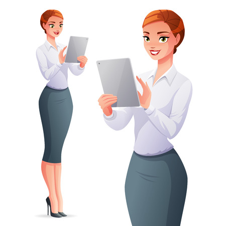 Beautiful elegant young business woman using a touch pad tablet portable computer. Cartoon style vector illustration isolated on white background. Illusztráció