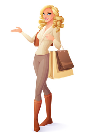 Beautiful lady standing with shopping bags and presenting. Cartoon style vector illustration isolated on white background. Illusztráció