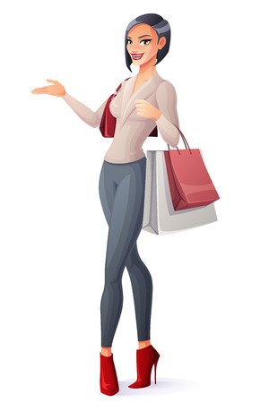 Beautiful brunette lady standing with shopping bags and presenting. Cartoon style vector illustration isolated on white background. Illusztráció