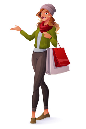 ombre: Beautiful ombre hair young woman standing with shopping bags and presenting. Cartoon style vector illustration isolated on white background.