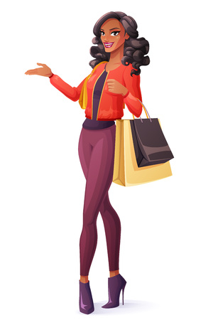 Beautiful black young African woman standing with shopping bags and presenting. Cartoon style vector illustration isolated on white background.