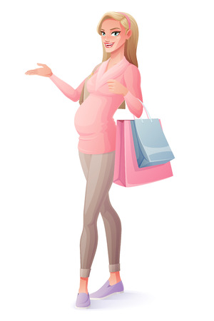 Beautiful pregnant blond woman standing with shopping bags and presenting. Cartoon style vector illustration isolated on white background.
