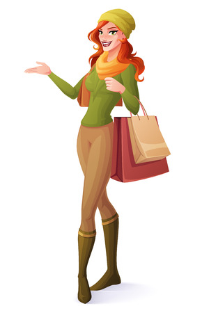 Beautiful red hair young woman standing with shopping bags and presenting. Cartoon style vector illustration isolated on white background.