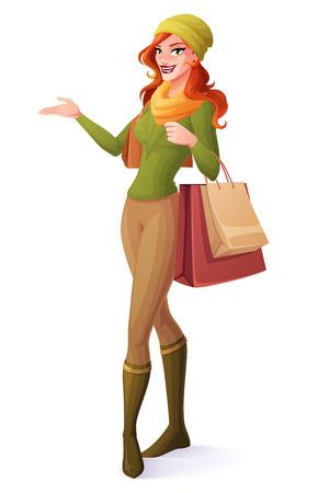 sueter: Joven y bella mujer de pelo rojo de pie con bolsas de la compra y la presentación. estilo de ilustración vectorial de dibujos animados aislado en el fondo blanco. Vectores