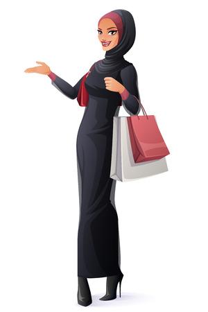 アバヤとヒジャーブの買い物袋の側に立って、提示で美しい若いイスラム教徒のアラブ女性。漫画のスタイルのベクトル イラスト白い背景で隔離。  イラスト・ベクター素材
