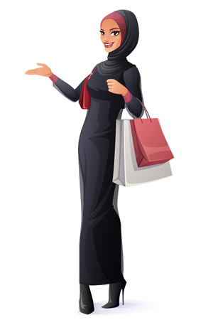 Beautiful young Muslim Arab woman in abaya and hijab standing with shopping bags and presenting. Cartoon style vector illustration isolated on white background.