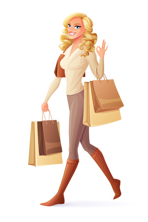 Beautiful smiling lady walking with shopping bags and showing OK sign hand gesture. Cartoon style vector illustration isolated on white background. Illusztráció
