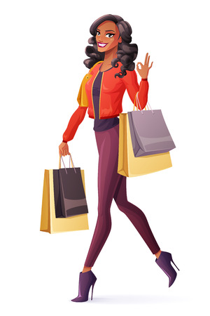 Beautiful young smiling black African woman walking with shopping bags and showing OK sign hand gesture. Cartoon style vector illustration isolated on white background.