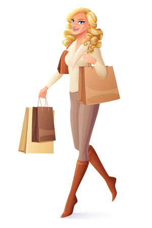 Beautiful lady walking with shopping bags. Cartoon style vector illustration isolated on white background.