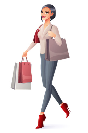 lady shopping: Beautiful brunette lady walking with shopping bags. Cartoon style vector illustration isolated on white background. Illustration