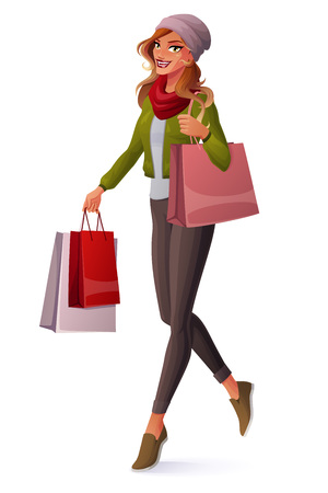 ombre: Beautiful young woman with ombre hair walking with shopping bags and smiling. Cartoon style vector illustration isolated on white background.