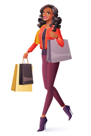 lady shopping: Beautiful young black African woman walking with shopping bags and smiling. Cartoon style vector illustration isolated on white background.