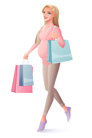 Beautiful happy pregnant woman walking with shopping bags and smiling. Cartoon style vector illustration isolated on white background.