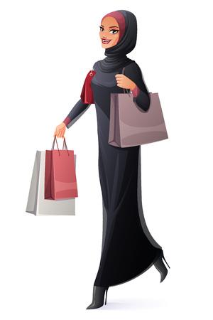 Piękna młoda muzułmańska Arabska kobieta w abaya i hijab odprowadzeniu z torba na zakupy i ono uśmiecha się. Ilustracja wektorowa styl kreskówka na białym tle. Ilustracje wektorowe
