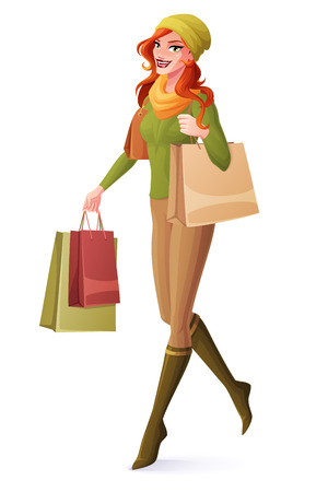 Beautiful redhead young woman walking with shopping bags and smiling. Cartoon style vector illustration isolated on white background. Illusztráció